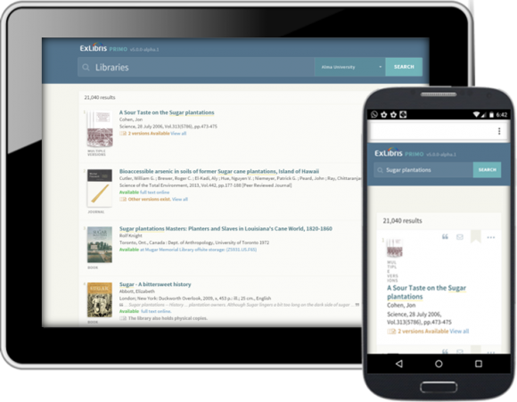 Tablet and phone with new OneSearch UI in browser