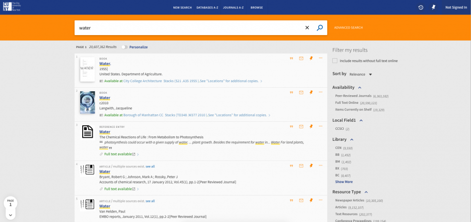 Screenshot of CUNY OneSearch as of September 12, 2017